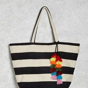 NWT Forever21 Striped Tasseled Tote Bag